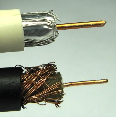 Современный антенный кабель с экранированием в сравнении с советским, у которого всё из меди
