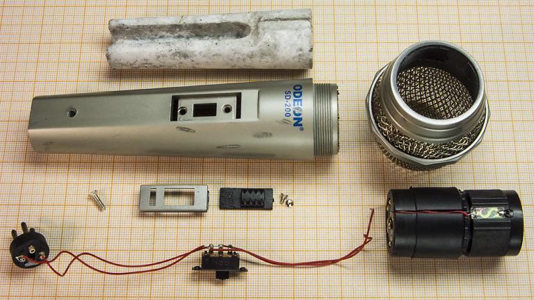 Разборка дешёвого микрофона Odeon SD-200 - как устроен, что внутри