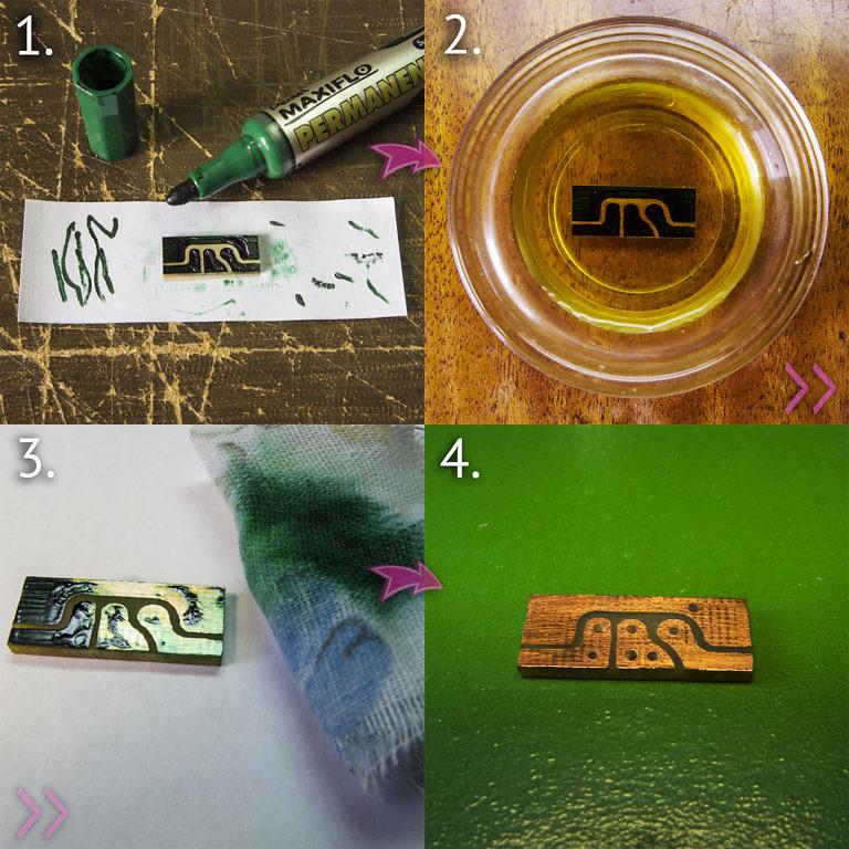 Изготовление печатной платы усилителя простейшим образом, с помощью маркера по стеклу, хлорного железа и спирта