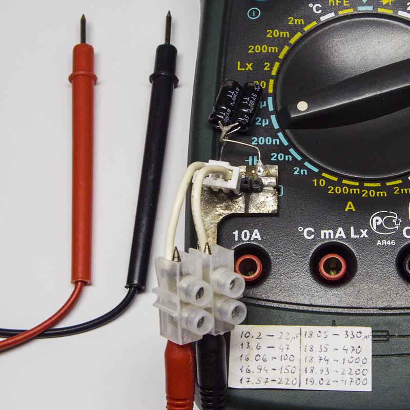 Приспособление с щупами для измерения ёмкости конденсаторов прямо на плате - расширение возможностей мультиметра