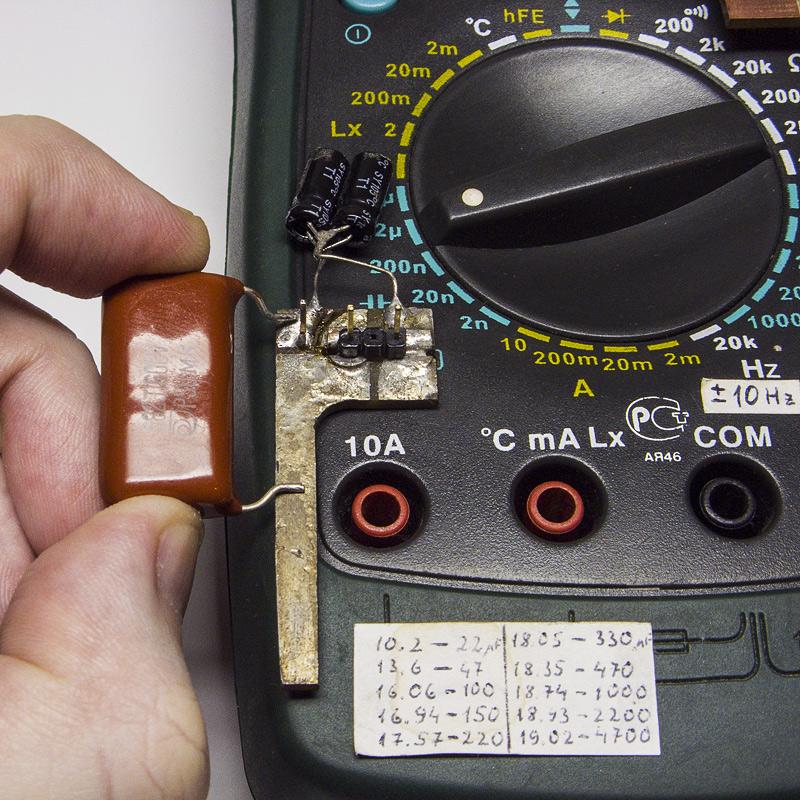 Измерение ёмкости конденсатора большой ёмкости с широко рсставленными выводами обычным мультиметром - приспособление для мультиметра