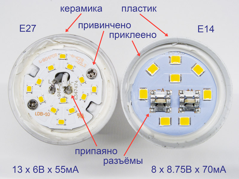 Сравнение устройства двух светодиодных ламп типа свеча, миньён, с цоколями е14 и е27 от Lexman