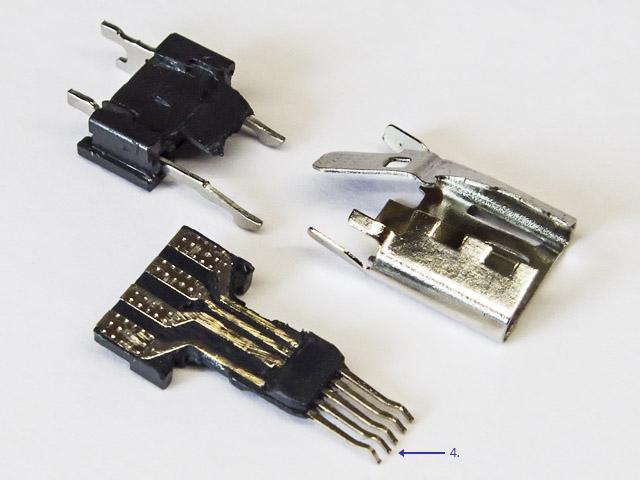 Как устроен обычный микро-ЮСБ пятиконтактный разъём папа