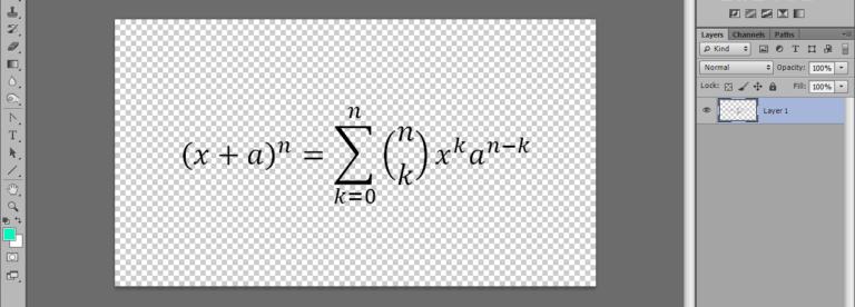 Математическая формула на прозрачном фоне в Фотошопе