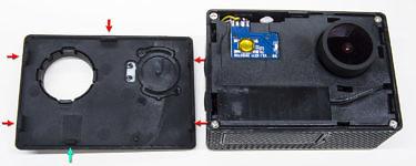 EKEN H9R разборка, что внутри, как разобрать, отщёлкивание передней панели
