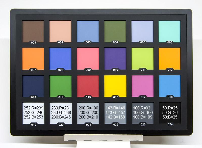 Шкала серого Andoer 24 ColorChecker не серая, а голубая, чёрный цвет 024