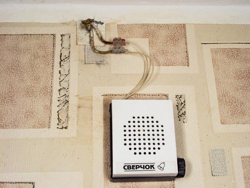 Два скрученных вместе алюминиевых провода торчат из стены под потолком в коридоре